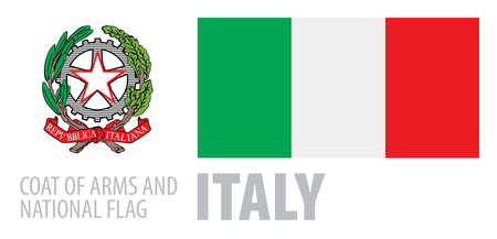 Vector set of the coat of arms and national flag of Italy 向量圖像