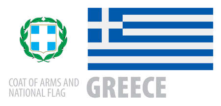 Vector set of the coat of arms and national flag of Greece 向量圖像