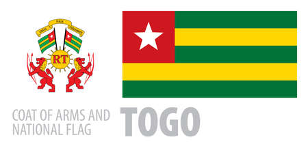 Vector set of the coat of arms and national flag of Togo