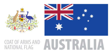 Vector set of the coat of arms and national flag of Australia  イラスト・ベクター素材