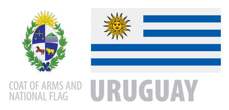 Vector set of the coat of arms and national flag of Uruguay  イラスト・ベクター素材