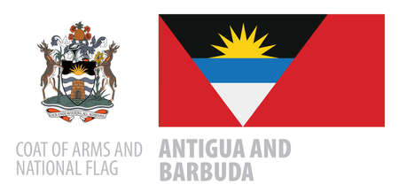 Vector set of the coat of arms and national flag of Antigua and Barbuda