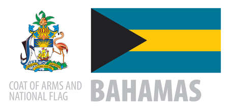 Vector set of the coat of arms and national flag of Bahamas  イラスト・ベクター素材