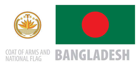 Vector set of the coat of arms and national flag of Bangladesh  イラスト・ベクター素材