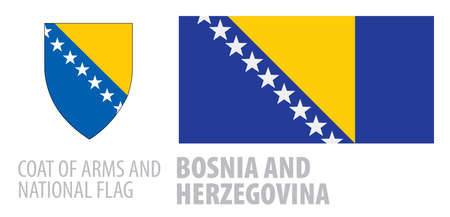 Vector set of the coat of arms and national flag of Bosnia and Herzegovina