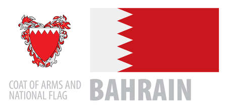 Vector set of the coat of arms and national flag of Bahrain  イラスト・ベクター素材