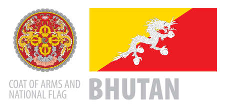 Vector set of the coat of arms and national flag of Bhutan