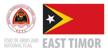 Vector set of the coat of arms and national flag of East Timor  イラスト・ベクター素材