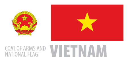 Vector set of the coat of arms and national flag of Vietnam