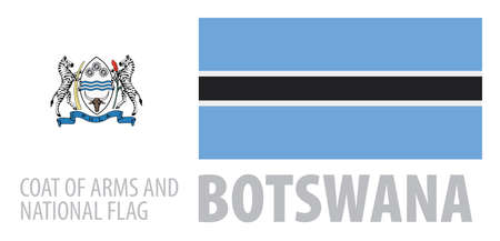 Vector set of the coat of arms and national flag of Botswana  イラスト・ベクター素材