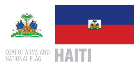Vector set of the coat of arms and national flag of Haiti  イラスト・ベクター素材