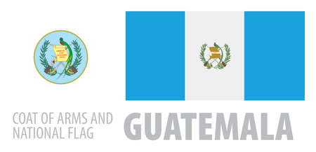 Vector set of the coat of arms and national flag of Guatemala