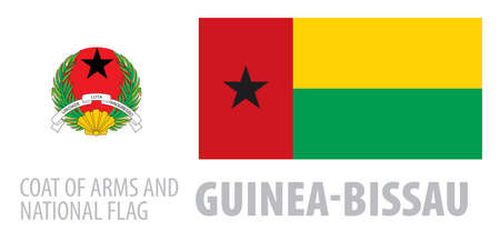 Vector set of the coat of arms and national flag of Guinea Bissau