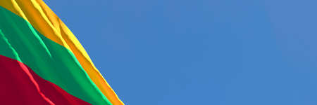 3D rendering of the Lithuania national flag against a blue sky