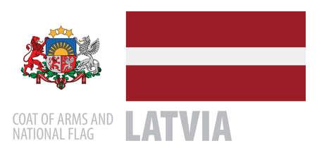 Vector set of the coat of arms and national flag of Latvia Ilustração