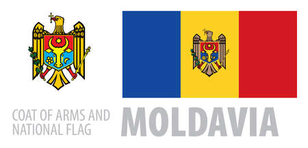 Vector set of the coat of arms and national flag of Moldavia