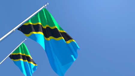 3D rendering of the national flag of Tanzania waving in the wind Foto de archivo