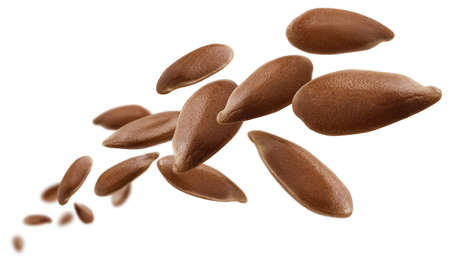 Flax seeds are levitated on a white background