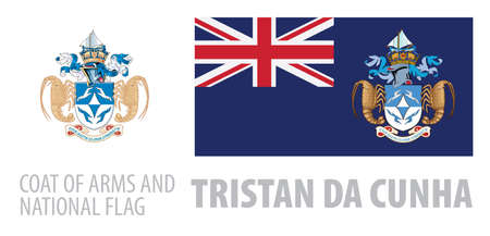 Vector set of the coat of arms and national flag of Tristan da Cunha