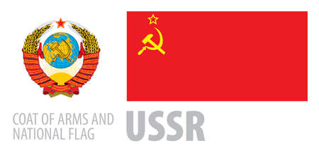 Vector set of the coat of arms and national flag of USSR