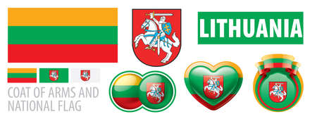 Vector set of the coat of arms and national flag of Lithuania
