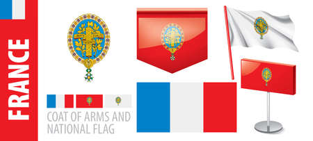 Vector set of the coat of arms and national flag of France