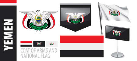 Vector set of the coat of arms and national flag of Yemen