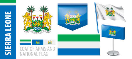 Vector set of the coat of arms and national flag of Sierra Leone Иллюстрация