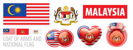 Vector set of the coat of arms and national flag of Malaysia