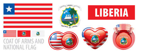 Vector set of the coat of arms and national flag of Liberia