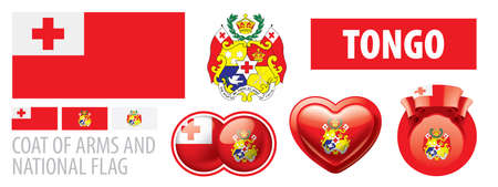 Vector set of the coat of arms and national flag of Tonga