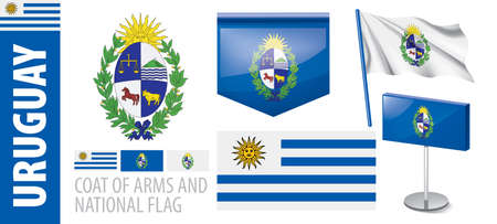 Vector set of the coat of arms and national flag of Uruguay Иллюстрация