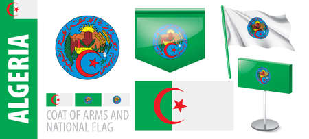 Vector set of the coat of arms and national flag of Algeria