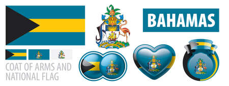 Vector set of the coat of arms and national flag of Bahamas Çizim
