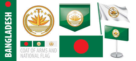 Vector set of the coat of arms and national flag of Bangladesh Çizim