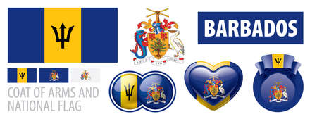 Vector set of the coat of arms and national flag of Barbados