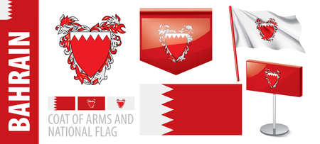 Vector set of the coat of arms and national flag of Bahrain Çizim