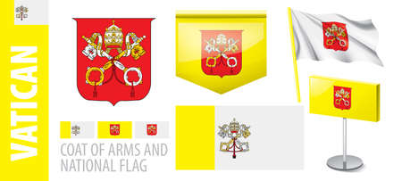 Vector set of the coat of arms and national flag of Vatican