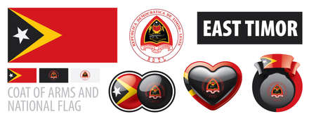 Vector set of the coat of arms and national flag of East Timor Иллюстрация