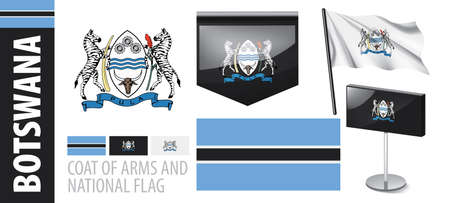 Vector set of the coat of arms and national flag of Botswana Иллюстрация