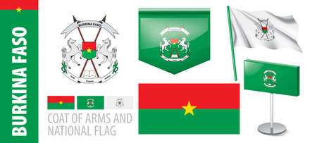 Vector set of the coat of arms and national flag of Burkina Faso