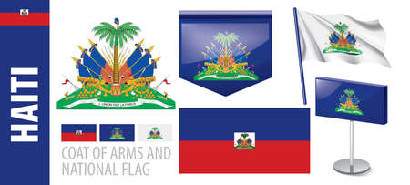 Vector set of the coat of arms and national flag of Haiti Иллюстрация