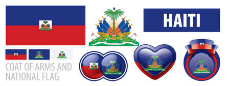 Vector set of the coat of arms and national flag of Haiti