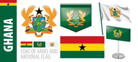 Vector set of the coat of arms and national flag of Ghana