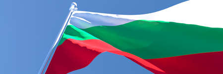 3D rendering of the national flag of Bulgaria waving in the wind Stock Photo