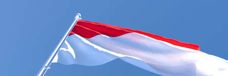 3D rendering of the national flag of Indonesia waving in the wind Stock Photo