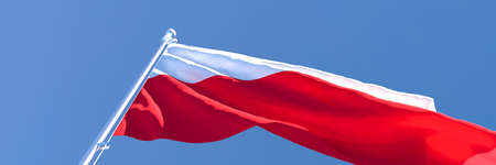 3D rendering of the national flag of Poland waving in the wind Stock Photo
