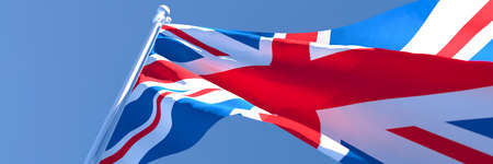 3D rendering of the national flag of British waving in the wind Stock Photo