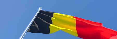 3D rendering of the national flag of Belgium waving in the wind