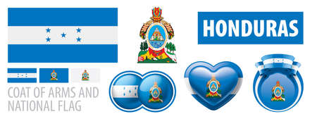 Vector set of the coat of arms and national flag of Honduras
